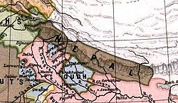 Territory of the Kingdom of Nepal in 1808