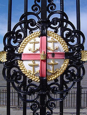 Old Royal Naval College - Badge of the Royal Hospital on the Water Gate of the Royal Naval College