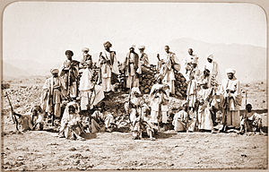 Jezail - Group of Afridi fighters in 1878, pictured with their jezails, during the Second Afghan War.