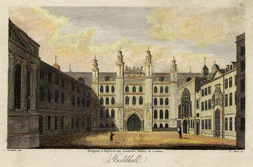 Guildhall. Engraved by E.Shirt after a drawing by Prattent. c.1805.