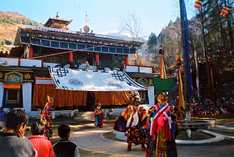 Losar - The Gumpa dance being performed in Lachung during the Buddhist festival of Losar
