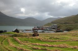 Hósvík village within the municipality