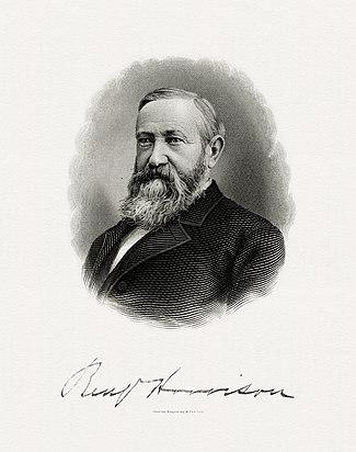 BEP gravuris portreton de Harrison kiel Prezidanto