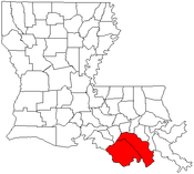 Map of Louisiana highlighting the Houma-Bayou Cane-Thibodaux metropolitan area