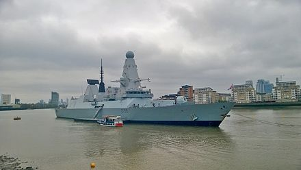 HMS Defender moored at Greenwich in London