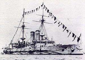 HMS Montagu (1901) - Image: HMS Montagu (1901) Dressed Overall