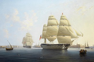 John West (Royal Navy officer) - The first-rate HMS ''Queen'', West's flagship as Commander-in-Chief, Plymouth