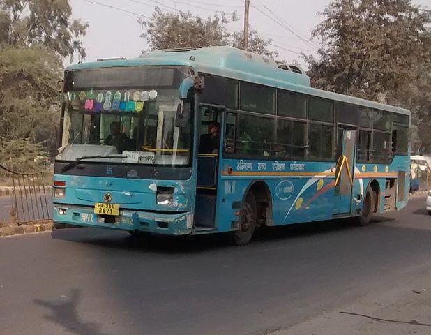 A Haryana Roadways JnNURM Ashok Leyland Bus.