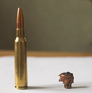Hollow-point bullet - 6.5×55mm Swedish before and after expanding. The long base and small expanded diameter show that this is a bullet designed for deep penetration on large game. The bullet in the photo traveled more than halfway through a moose before coming to rest.