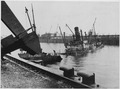 Hamburg, Germany. After the 1943 air raids, the port of Hamburg was strewn with sunken ships, like this Norwegian... - NARA - 541695.tif