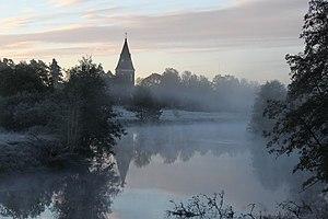 Lagan River (Sweden) - Lagan and Hamneda Church in October 2010