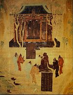 A close-up of the fresco describing Emperor Han Wudi (156 – 87 BCE) worshipping two statues of the Buddha, Mogao Caves, Dunhuang, c. 700 CE.