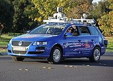 Junior, una Volkswagen Passat a guida robotica in prova all'Università di Stanford nell'ottobre 2009.
