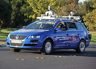 A robotic Volkswagen Passat shown at Stanford University is a driverless car Hands-free Driving.jpg