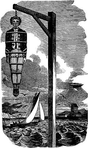 Letter of marque -  The body of Captain William Kidd hanging in a gibbet over the Thames, the result of confusion over whether Captain Kidd took prizes legally under a letter of marque, or illegally as a pirate.
