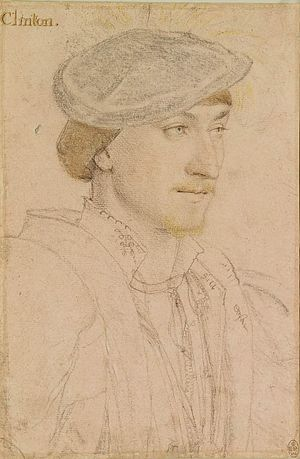 Edward Clinton, 1st Earl of Lincoln - Edward Clinton, Baron Clinton, drawn before his acquisition of the title Earl of Lincoln, by Hans Holbein the Younger, c. 1534–1535. Royal collection, Windsor Castle