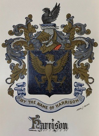 "Harrison family of Virginia - Coat of arms of Daniel Harrison, of the Shenandoah Valley Harrisons—the ""Durham arms"""