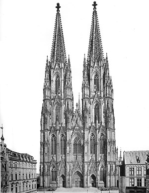 Cologne Cathedral - The west front of the completed cathedral in 1911