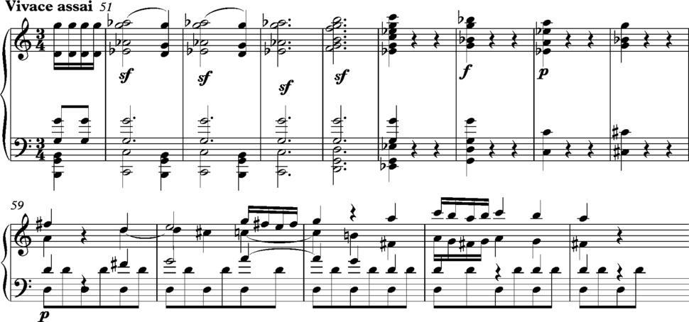 Haydn Symphony 82 1st movement bars 51-64