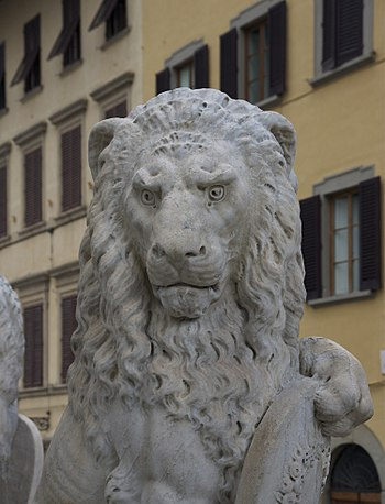 Detail of a lion, monument to Dante Alighieri,...