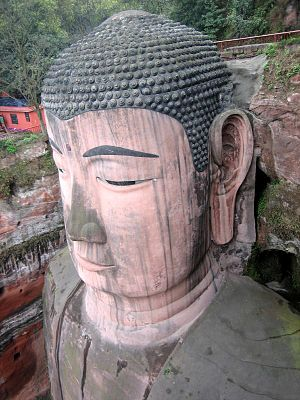 Leshan Giant Buddha - Detailed close-up shot of the statue's face