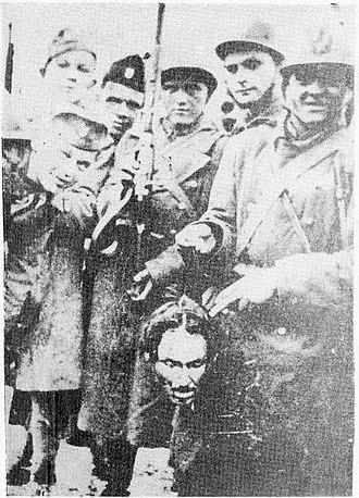 Persecution of Eastern Orthodox Christians - Head of Serbian orthodox priest and Croatian Ustashe