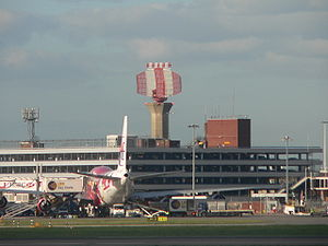 A radar tower at London Heathrow Airport