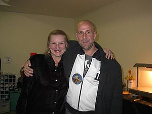 Hedwig Gorski - Hedwig Gorski with Swedish actor Peter Stormare in Prague, Czech Republic at Bob Dylan's concert backstage in October 2003.