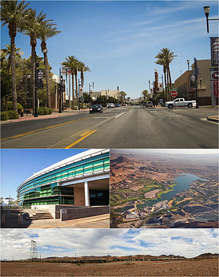 "Clockwise from top: Water Street Historic District of Downtown Henderson, aerial view of <a href=""http://search.lycos.com/web/?_z=0&q=%22Lake%20Las%20Vegas%22"">Lake Las Vegas</a>, Foothills near Henderson, Henderson City Hall"