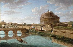 Veduta - A View of the Tiber by Hendrik Frans van Lint, first half of 18th century