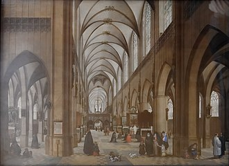 Architectural painting - Antwerp Cathedral by Hendrik van Steenwijk I, now in the Museum of Fine Arts in Budapest