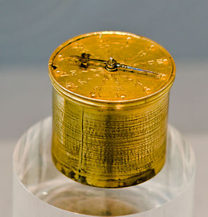 Pocket watch - Pocketwatches evolved from clock-watches, supposedly called Nuremberg eggs, worn on chains around the neck. Example by Peter Henlein, 1510, Germanisches Nationalmuseum Nuremberg.