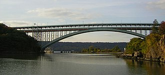 Henry Hudson Bridge - View from a boat looking west, toward the Hudson River and the New Jersey Palisades