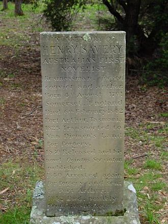 Henry Savery - Savery's memorial stone on the Isle of the Dead at Port Arthur