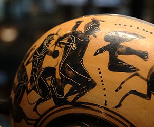 Prometheus - Heracles freeing Prometheus from his torment by the eagle (Attic black-figure cup, c. 500 BCE)