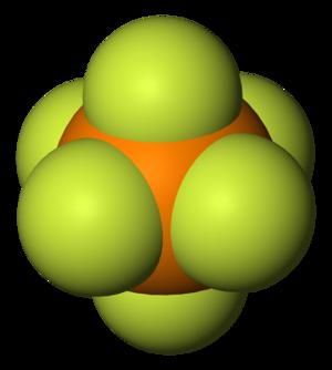 Hexafluorophosphate - Image: Hexafluorophosphate anion 3D vd W