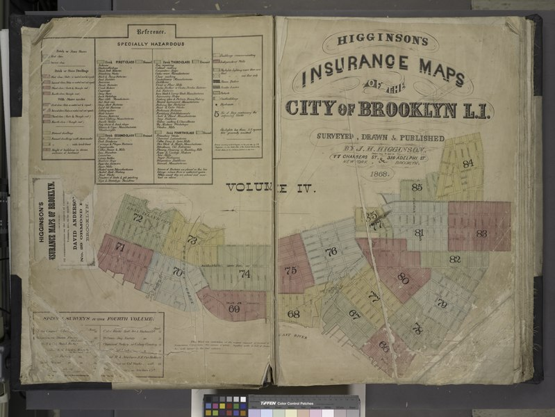 File:Higginson's Insurance Maps of the city of Brooklyn L.I. Surveyed, Drawn and Published by J.H. Higginson. Order may be sent to 77 Chambers St., and 319 Adelphi St., New York, Brooklyn. 1868. Volume 4. NYPL1695432.tiff