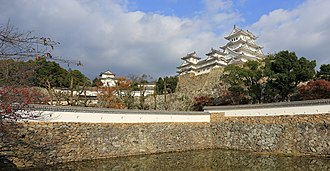 "Himeji Castle - The ""Three Country Moat"" in the centre of the castle complex"