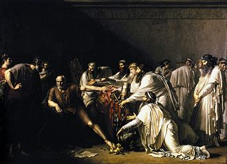 Hippocrates - Illustration of the story of Hippocrates refusing the presents of the Achaemenid Emperor Artaxerxes, who was asking for his services. Painted by Girodet.