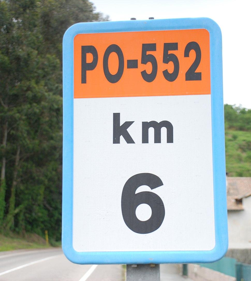 Hito kilométrico de la PO-552