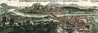 Heinrich Ignaz Franz Biber - A panorama of Salzburg c.1712, by J. B. Homann