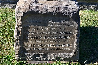 William Patrick Manning - Grave of Manning's wife, South Head Cemetery, Sydney