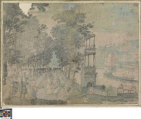 Courtly company in landscape