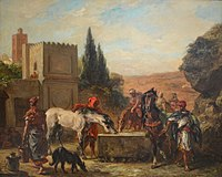 Horses at a Fountain, by Eugène Delacroix.JPG