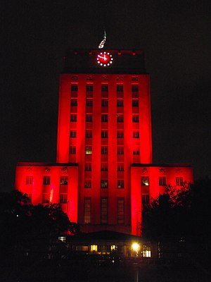 2011 Houston Cougars football team - Houston City Hall illuminated red in celebration of Houston's undefeated regular season and C-USA Championship appearance