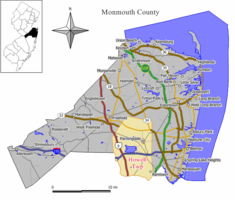 Map of Howell Township in Monmouth County. Inset: Location of Monmouth County highlighted in the State of New Jersey.