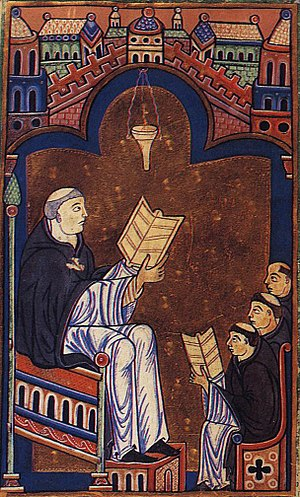Richard of Saint Victor - Miniature of Hugh of Saint Victor teaching the young canons of Richard's abbey