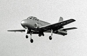 BAC Jet Provost - The prototype Jet Provost T.1 with the initial longer undercarriage at the Farnborough Air Show in 1954
