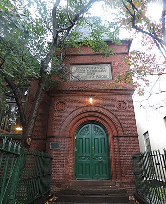 Westchester Square, Bronx - The front door to the historic Huntington Free Library on Lane Avenue