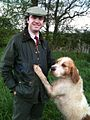 Huntsman (mink hunting) with his otterhound..jpg